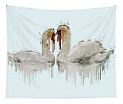 Swan Love Acrylic Painting Tapestry