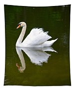 Swan Reflecting Tapestry