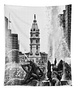 Swann Memorial Fountain In Black And White Tapestry
