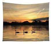 Swans At Dawn Tapestry