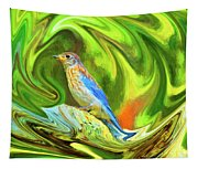 Swirling Bluebird Abstract Tapestry