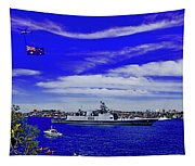 Sydney Harbour And Flying Flag Tapestry