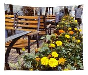 Tables And Chairs With Flowers Tapestry