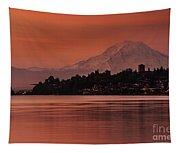 Tacoma Bay Mount Rainier Sunrise Tapestry