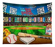 Take Me Out To The Ballgame Recycled Vintage License Plate Art Collage Tapestry