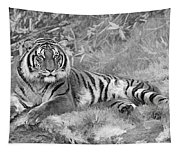Takin It Easy Tiger Black And White Tapestry