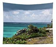 Talum Ruins Mexico Ocean View Tapestry