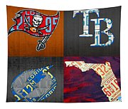Tampa Bay Sports Fan Recycled Vintage Florida License Plate Art Bucs Rays Lightning Plus State Map Tapestry