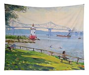 Tappan Zee Bridge And Light House Tapestry