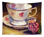 Tea Cup With Rose Still Life Grace Venditti Montreal Art Tapestry
