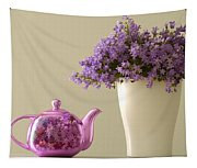Teapot And Flowers In A Vase Tapestry