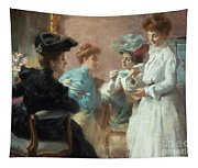 Teatime In My Living Room In Via Senato Tapestry