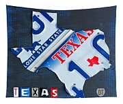 Texas License Plate Map Tapestry