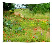 Texas Wildflowers And Cactus - Country Road Tapestry