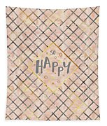 Text Art So Happy - Orange Tapestry