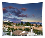 The Alhambra Palace And Albaicin At Sunset Tapestry