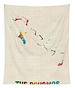 The Bahamas Watercolor Map Tapestry