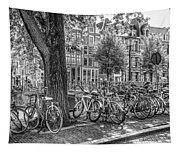 The Bicycles Of Amsterdam In Black And White Tapestry