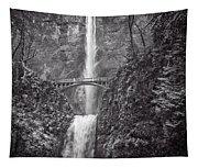 The Bridge At Multnomah Falls In Black And White Tapestry