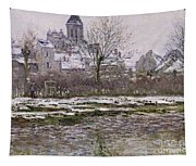 The Church At Vetheuil Under Snow Tapestry