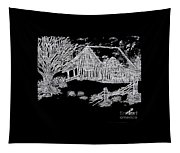 The Deserted Cabin At Night Tapestry