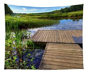The Dock At Mountainman Tapestry
