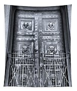 The Door At The Parthenon In Nashville Tennessee Black And White Tapestry