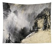 The Falling Flakes Mountain Scene. Yosemite A Mountain Snowfall Tapestry