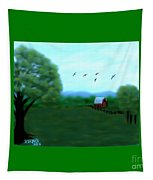 The Farm Below The Mountains Tapestry