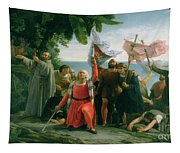 The First Landing Of Christopher Columbus Tapestry