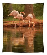 The Flock - The Serenity Of Flamingos At Water's Edge Tapestry