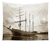 The Four-masted Barkentine  Jane Stanford Built By Hans Bendixse 1892 Tapestry