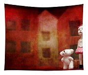 The Girl With Teddy Bear Tapestry