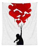 The Girl With The Red Balloons Tapestry