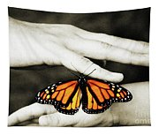 The Hands And The Butterfly Tapestry
