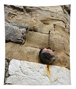 The Hanging Jar - Rough Weathered Stones Rust And Ceramics - A Vertical View Tapestry