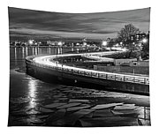 The Icy Charles River At Night Boston Ma Cambridge Black And White Tapestry
