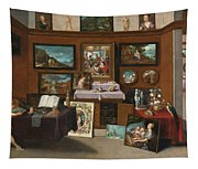 The Interior Of A Picture Gallery With Connoisseurs Admiring Paintings Tapestry