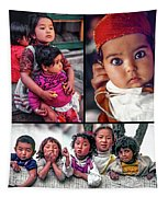 The Kids Of India Collage Tapestry