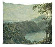 The Lake Of Nemi And The Town Of Genzano Tapestry