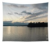 The Lake Of Two Rivers At Dawn Tapestry