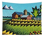 The Little Farm On The Grassy Hill Tapestry