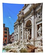 The Majesty Of The Trevi Fountain In Rome Tapestry