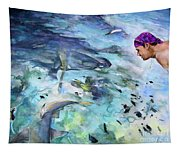 The Man And The Sharks Tapestry