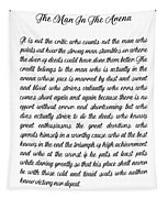 The Man In The Arena By Theodore Roosevelt Tapestry