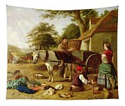 The Market Cart Tapestry