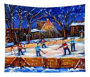 The Neighborhood Hockey Rink Tapestry