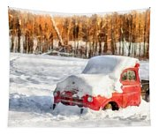 The Old Farm Truck In The Snow Tapestry