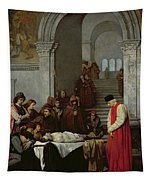 The Painter Luca Signorelli Standing By The Body Of His Rival's Dead Son Tapestry