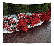 The Path To Christmas - Poinsettias, Trees, Snow, And Walkway Tapestry